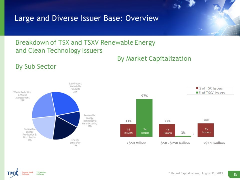 Large and Diverse Issuer Base: Overview 15 By Market Capitalization Breakdown of TSX and TSXV Renewable Energy and Clean Technology Issuers By Sub Sector * Market Capitalization, August 31, 2013 14 Issuers 74 Issuers 14 Issuers 15 Issuers 2