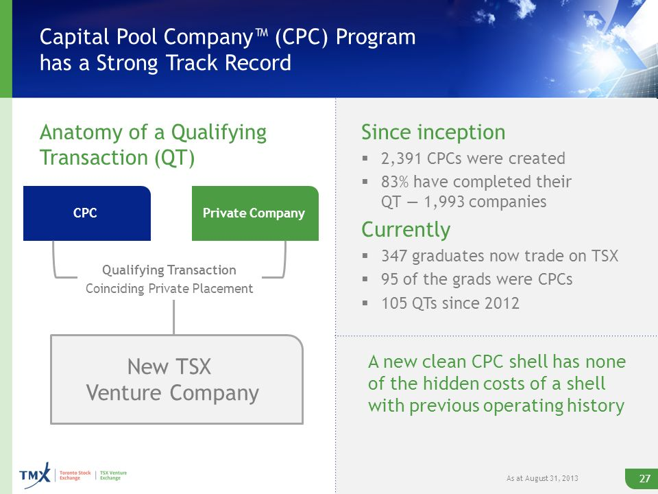 Capital Pool Company (CPC) Program has a Strong Track Record Anatomy of a Qualifying Transaction (QT) Since inception 2,391 CPCs were created 83% have completed their QT 1,993 companies Currently 347 graduates now trade on TSX 95 of the grads were CPCs 105 QTs since 2012 CPCPrivate Company Qualifying Transaction Coinciding Private Placement New TSX Venture Company 27 A new clean CPC shell has none of the hidden costs of a shell with previous operating history As at August 31, 2013