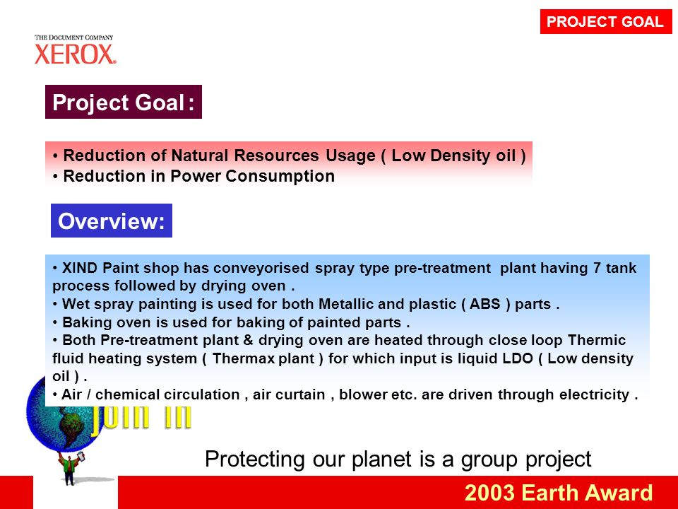 Protecting our planet is a group project 2003 Earth Award PROJECT GOAL Project Goal: Reduction of Natural Resources Usage ( Low Density oil ) Reduction in Power Consumption Overview: XIND Paint shop has conveyorised spray type pre-treatment plant having 7 tank process followed by drying oven.