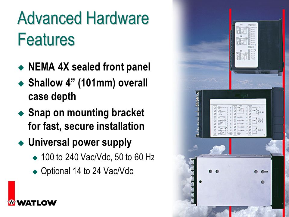 14 Advanced Hardware Features u NEMA 4X sealed front panel u Shallow 4 (101mm) overall case depth u Snap on mounting bracket for fast, secure installation u Universal power supply u 100 to 240 Vac/Vdc, 50 to 60 Hz u Optional 14 to 24 Vac/Vdc