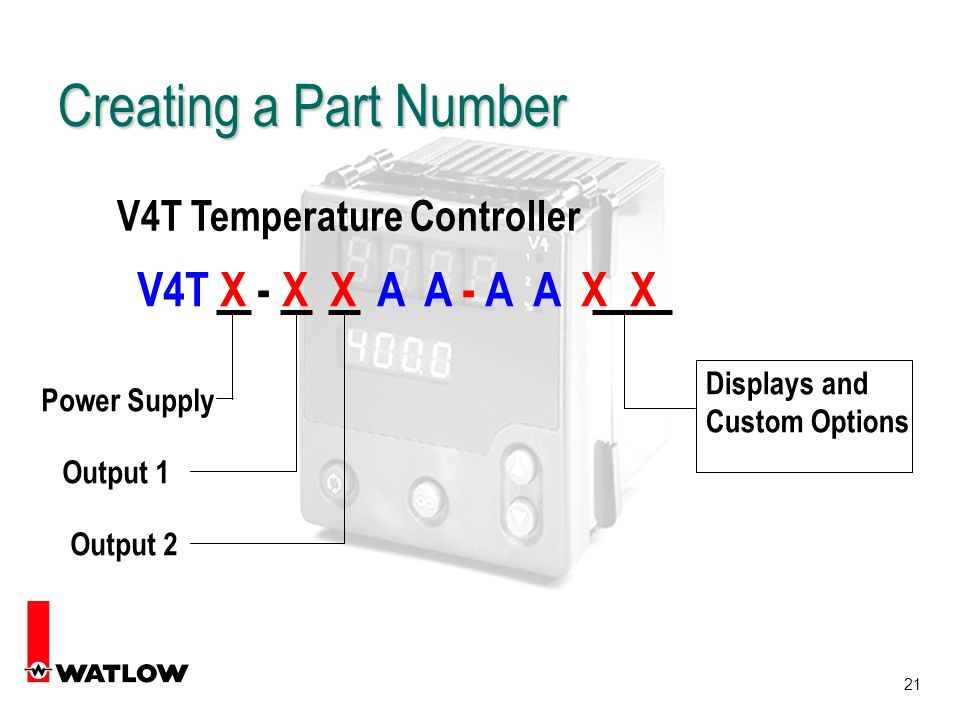 21 V4T Temperature Controller V4T X - X X A A - A A X X Power Supply Output 1 Output 2 Displays and Custom Options Creating a Part Number