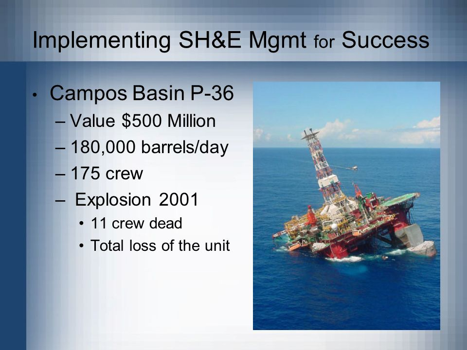 Implementing SH&E Mgmt for Success Campos Basin P-36 –Value $500 Million –180,000 barrels/day –175 crew – Explosion 2001 11 crew dead Total loss of the unit