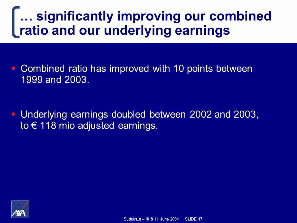 Suduiraut - 10 & 11 June 2004 SLIDE 17 … significantly improving our combined ratio and our underlying earnings Combined ratio has improved with 10 points between 1999 and 2003.