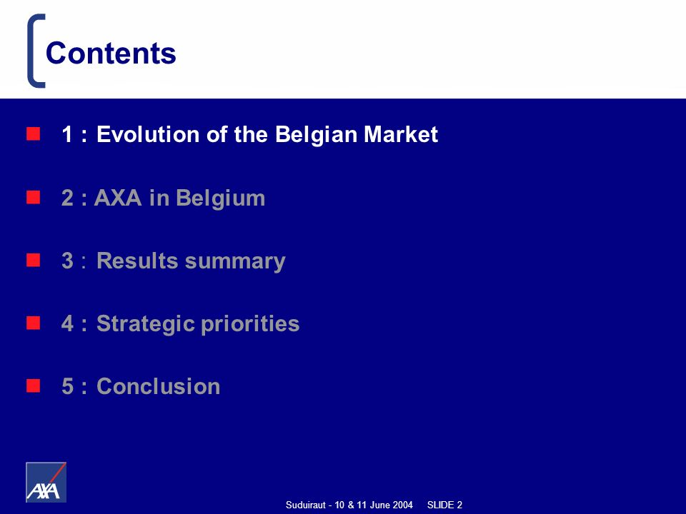Suduiraut - 10 & 11 June 2004 SLIDE 2 1 : Evolution of the Belgian Market 2 : AXA in Belgium 3 : Results summary 4 : Strategic priorities 5 :Conclusion Contents