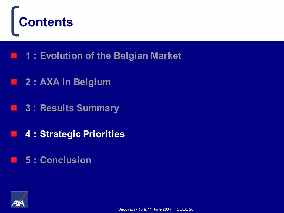 Suduiraut - 10 & 11 June 2004 SLIDE 26 1 : Evolution of the Belgian Market 2 : AXA in Belgium 3 : Results Summary 4 : Strategic Priorities 5 :Conclusion Contents