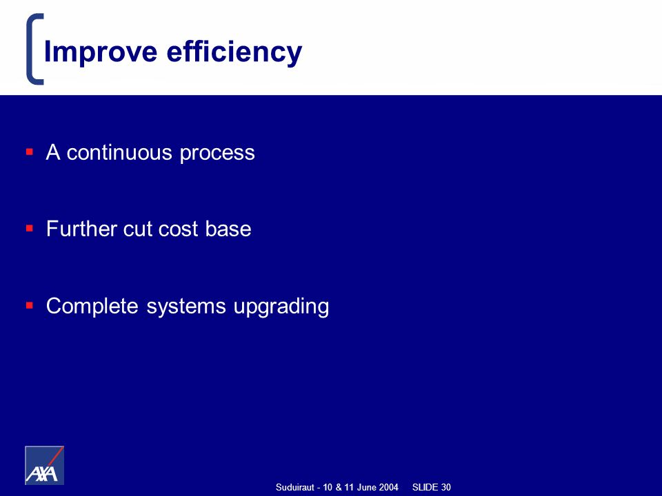 Suduiraut - 10 & 11 June 2004 SLIDE 30 Improve efficiency A continuous process Further cut cost base Complete systems upgrading