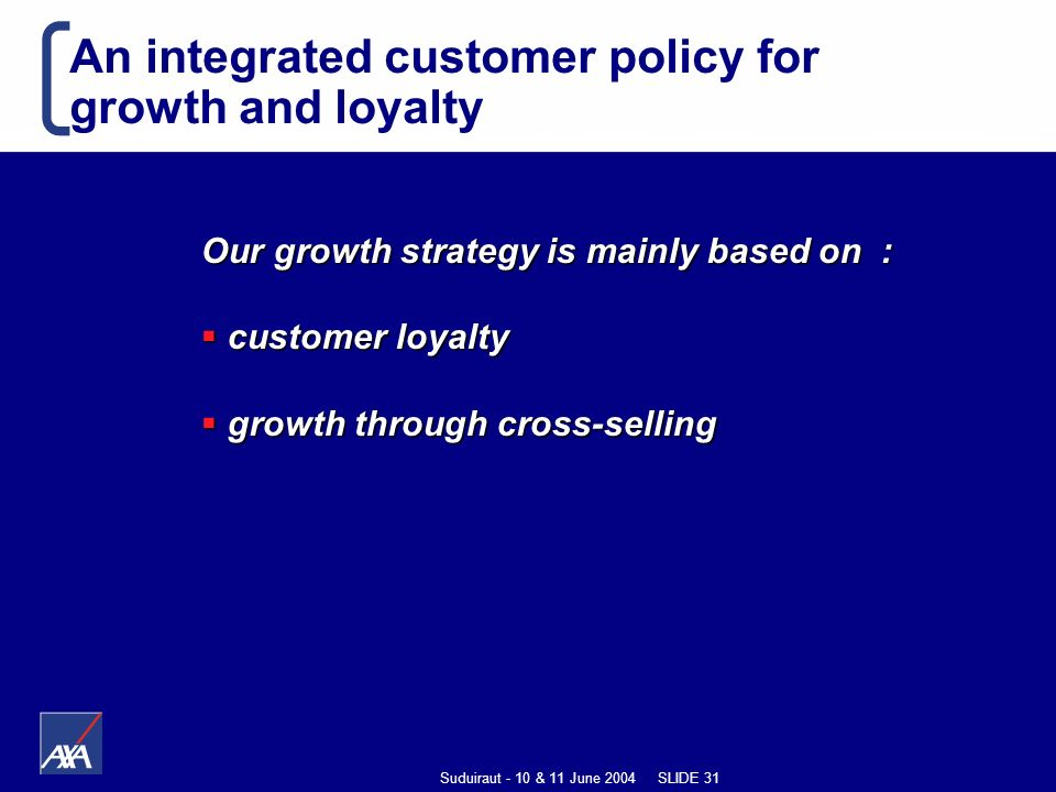 Suduiraut - 10 & 11 June 2004 SLIDE 31 An integrated customer policy for growth and loyalty Our growth strategy is mainly based on : customer loyalty customer loyalty growth through cross-selling growth through cross-selling