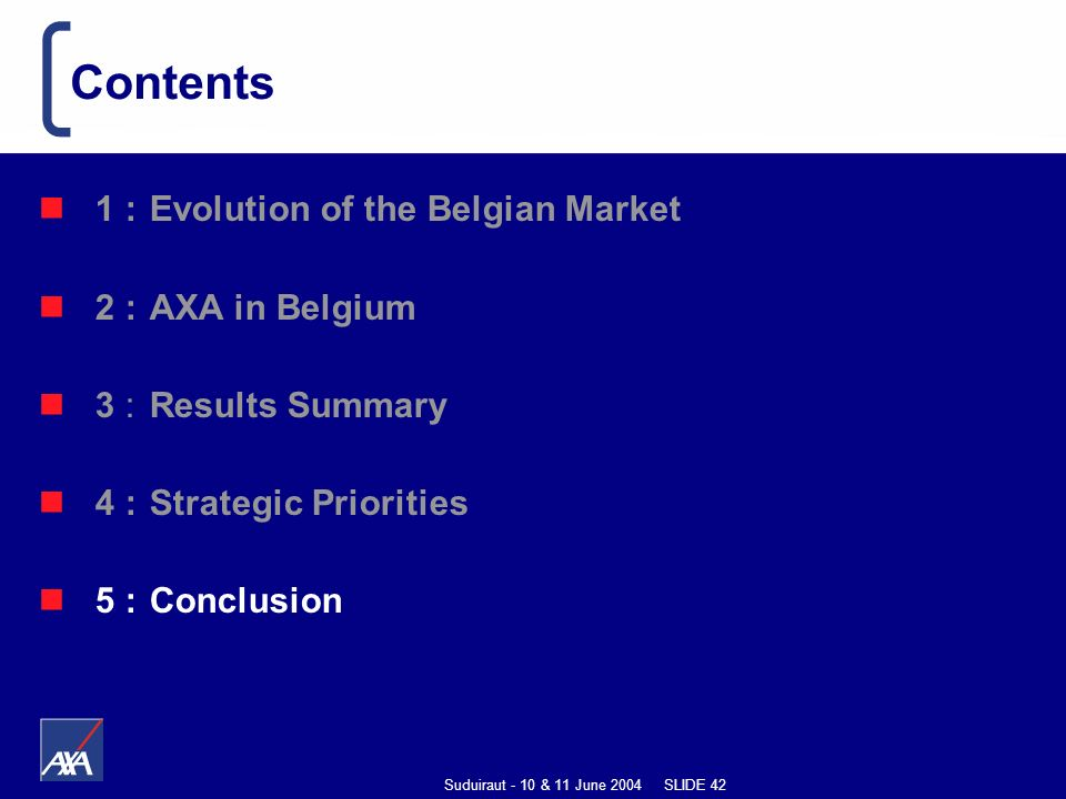 Suduiraut - 10 & 11 June 2004 SLIDE 42 1 : Evolution of the Belgian Market 2 : AXA in Belgium 3 : Results Summary 4 : Strategic Priorities 5 :Conclusion Contents