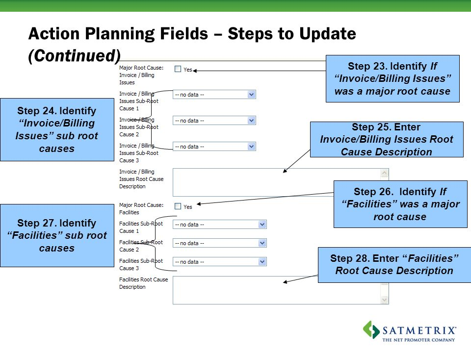 Action Planning Fields – Steps to Update (Continued) Step 25.