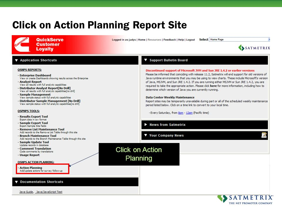 Click on Action Planning Click on Action Planning Report Site