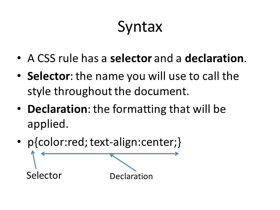 Syntax A CSS rule has a selector and a declaration.