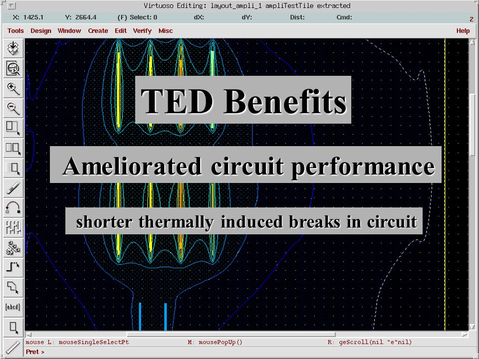 TED Benefits Ameliorated circuit performance Ameliorated circuit performance shorter thermally induced breaks in circuit shorter thermally induced breaks in circuit