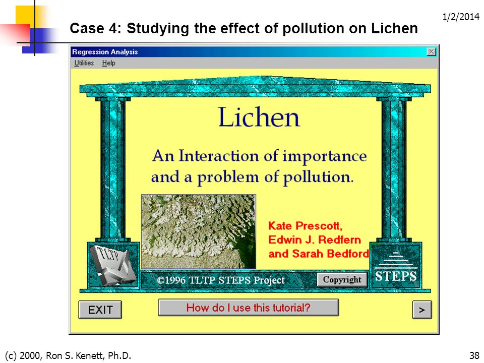 1/2/2014 (c) 2000, Ron S. Kenett, Ph.D.38 Case 4: Studying the effect of pollution on Lichen