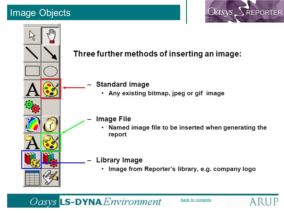 back to contents Image Objects Three further methods of inserting an image: –Standard image Any existing bitmap, jpeg or gif image –Image File Named image file to be inserted when generating the report –Library Image Image from Reporters library, e.g.