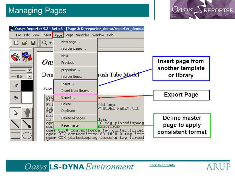 back to contents Managing Pages Define master page to apply consistent format Export Page Insert page from another template or library