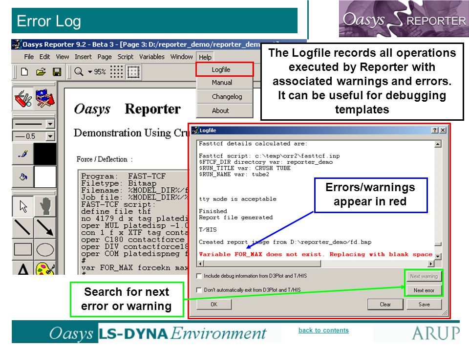 back to contents Error Log The Logfile records all operations executed by Reporter with associated warnings and errors.