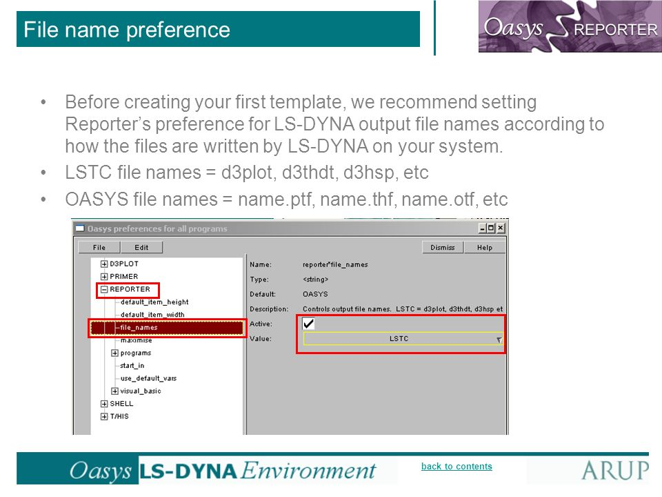 back to contents File name preference Before creating your first template, we recommend setting Reporters preference for LS-DYNA output file names according to how the files are written by LS-DYNA on your system.