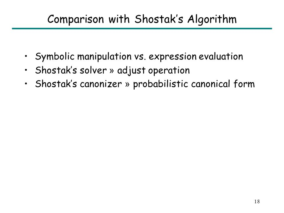 18 Comparison with Shostaks Algorithm Symbolic manipulation vs.