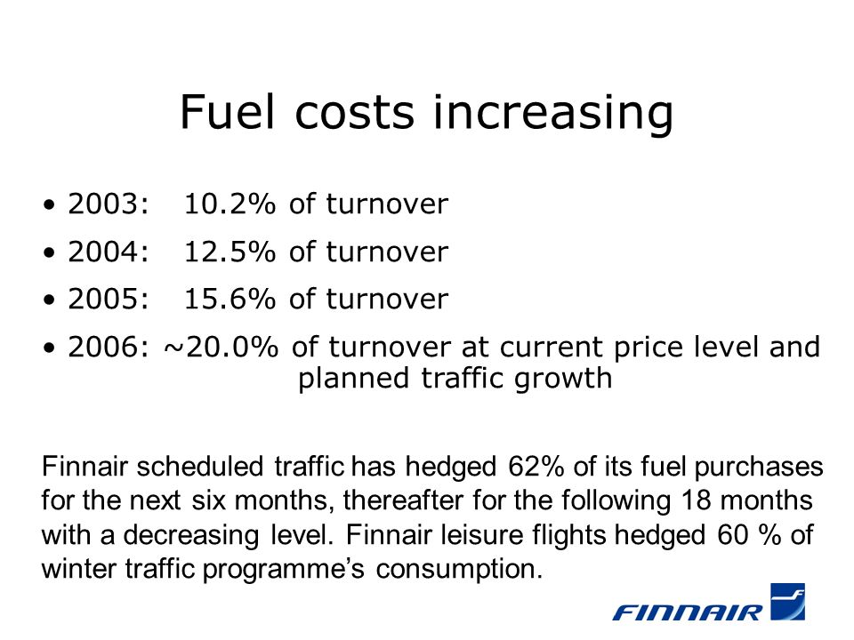 2003: 10.2% of turnover 2004: 12.5% of turnover 2005: 15.6% of turnover 2006: ~20.0% of turnover at current price level and planned traffic growth Finnair scheduled traffic has hedged 62% of its fuel purchases for the next six months, thereafter for the following 18 months with a decreasing level.