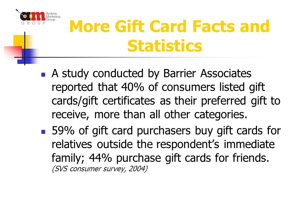 More Gift Card Facts and Statistics A study conducted by Barrier Associates reported that 40% of consumers listed gift cards/gift certificates as their preferred gift to receive, more than all other categories.