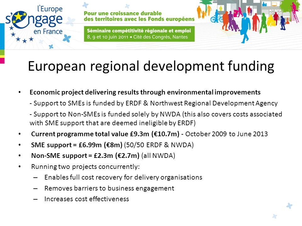 European regional development funding Economic project delivering results through environmental improvements - Support to SMEs is funded by ERDF & Northwest Regional Development Agency - Support to Non-SMEs is funded solely by NWDA (this also covers costs associated with SME support that are deemed ineligible by ERDF) Current programme total value £9.3m (10.7m) - October 2009 to June 2013 SME support = £6.99m (8m) (50/50 ERDF & NWDA) Non-SME support = £2.3m (2.7m) (all NWDA) Running two projects concurrently: – Enables full cost recovery for delivery organisations – Removes barriers to business engagement – Increases cost effectiveness