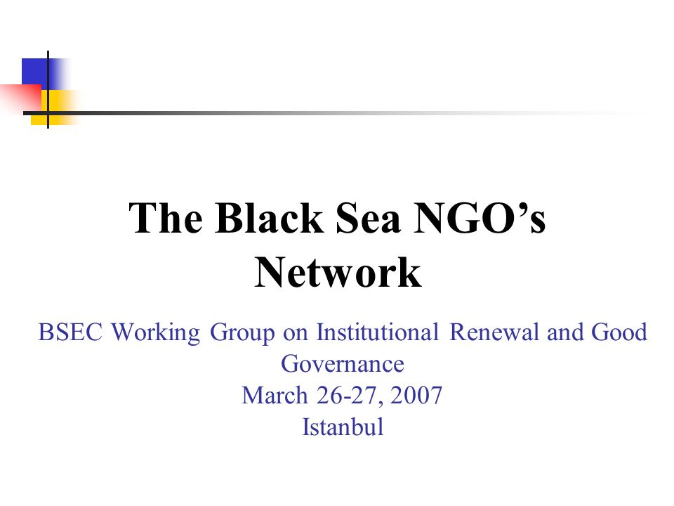 BSEC Working Group on Institutional Renewal and Good Governance March 26-27, 2007 Istanbul The Black Sea NGOs Network
