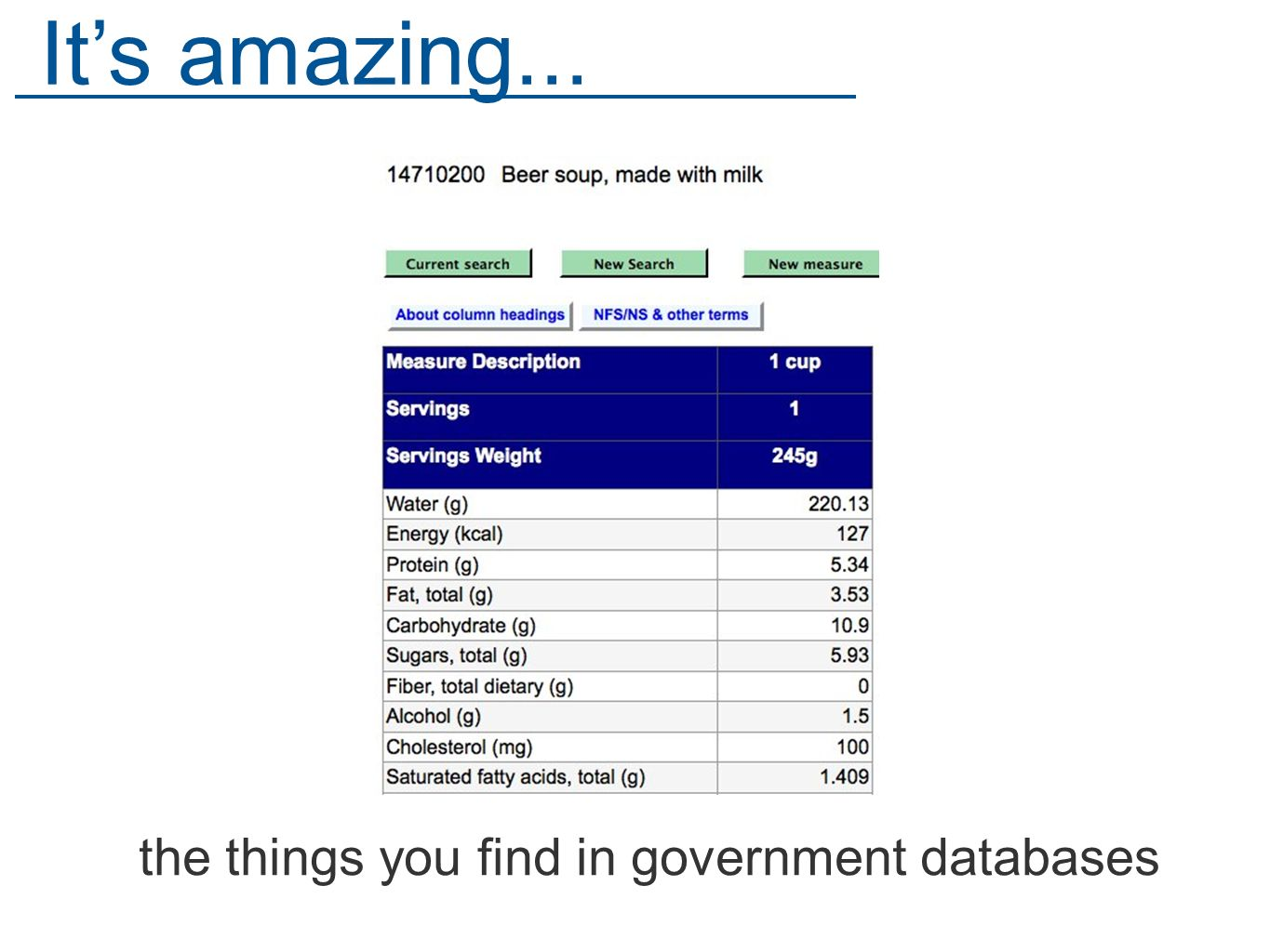the things you find in government databases Its amazing...