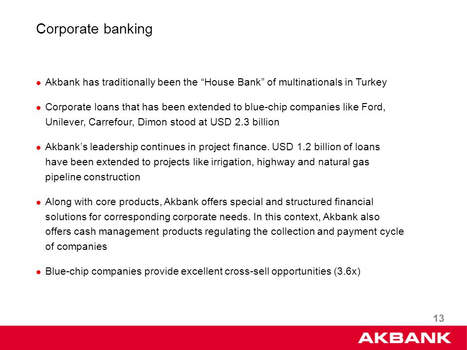 13 Corporate banking Akbank has traditionally been the House Bank of multinationals in Turkey Corporate loans that has been extended to blue-chip companies like Ford, Unilever, Carrefour, Dimon stood at USD 2.3 billion Akbanks leadership continues in project finance.