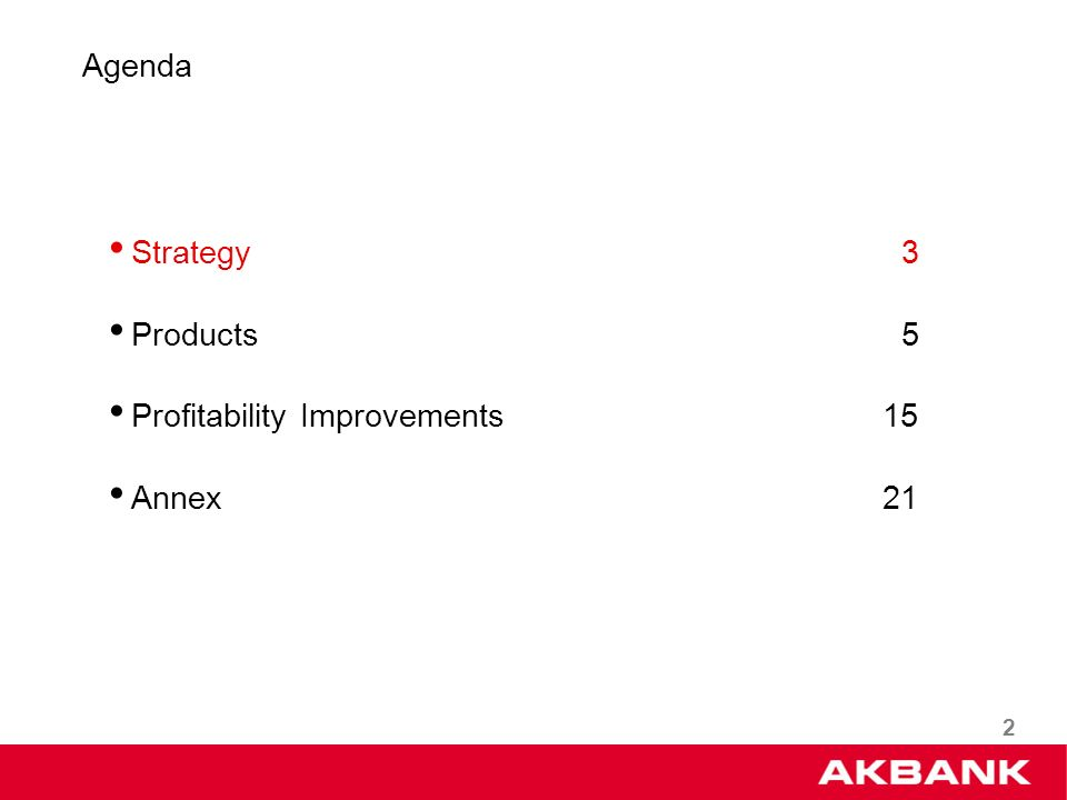 2 Strategy 3 Products 5 Profitability Improvements 15 Annex 21 Agenda