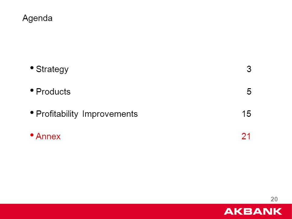 20 Strategy 3 Products 5 Profitability Improvements 15 Annex 21 Agenda