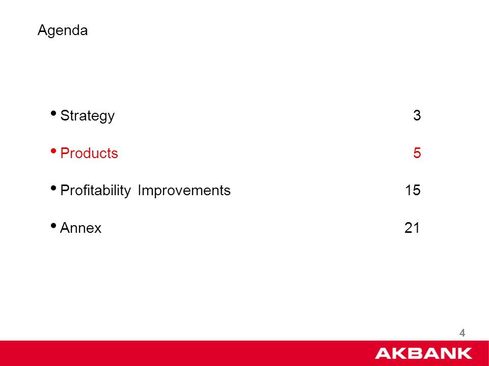 4 Strategy 3 Products 5 Profitability Improvements 15 Annex 21 Agenda