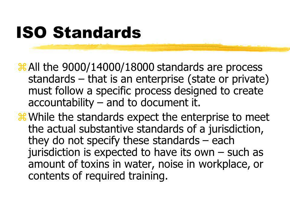 The ISO link zInitial standards were the 9000 series – focus on management accountability zISO series integrated environmental standards into management (many were also related to health and safety issues) zISO more explicitly focuses on workplace health and safety