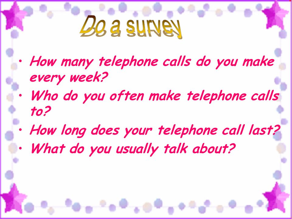 How many telephone calls do you make every week. Who do you often make telephone calls to.