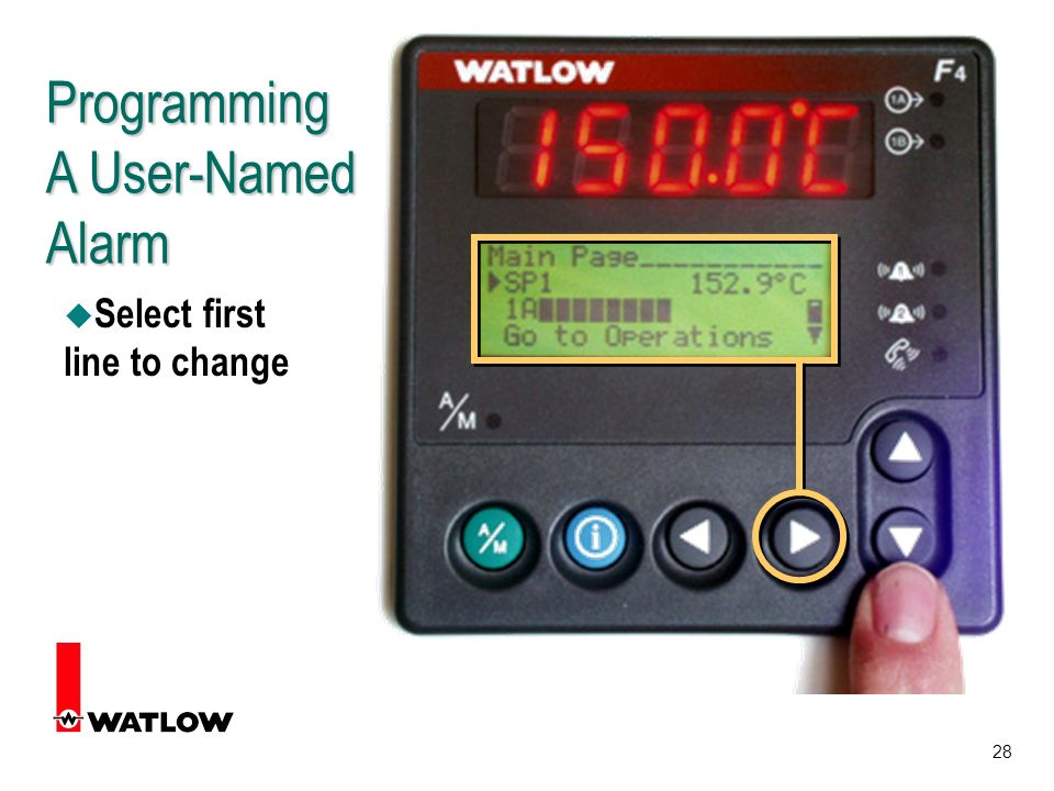 28 Programming A User-Named Alarm u Select first line to change