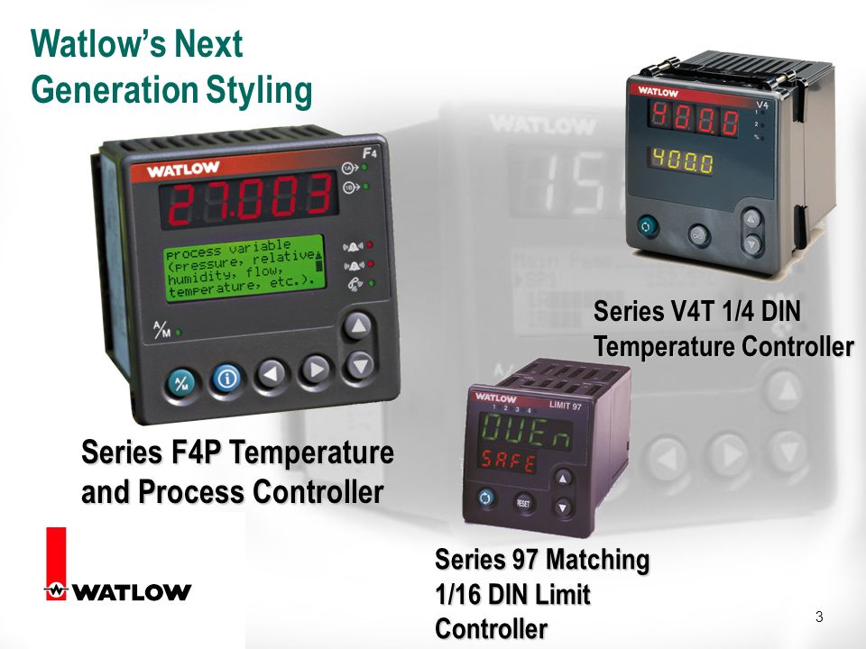 3 Watlows Next Generation Styling Series F4P Temperature and Process Controller Series 97 Matching 1/16 DIN Limit Controller Series V4T 1/4 DIN Temperature Controller