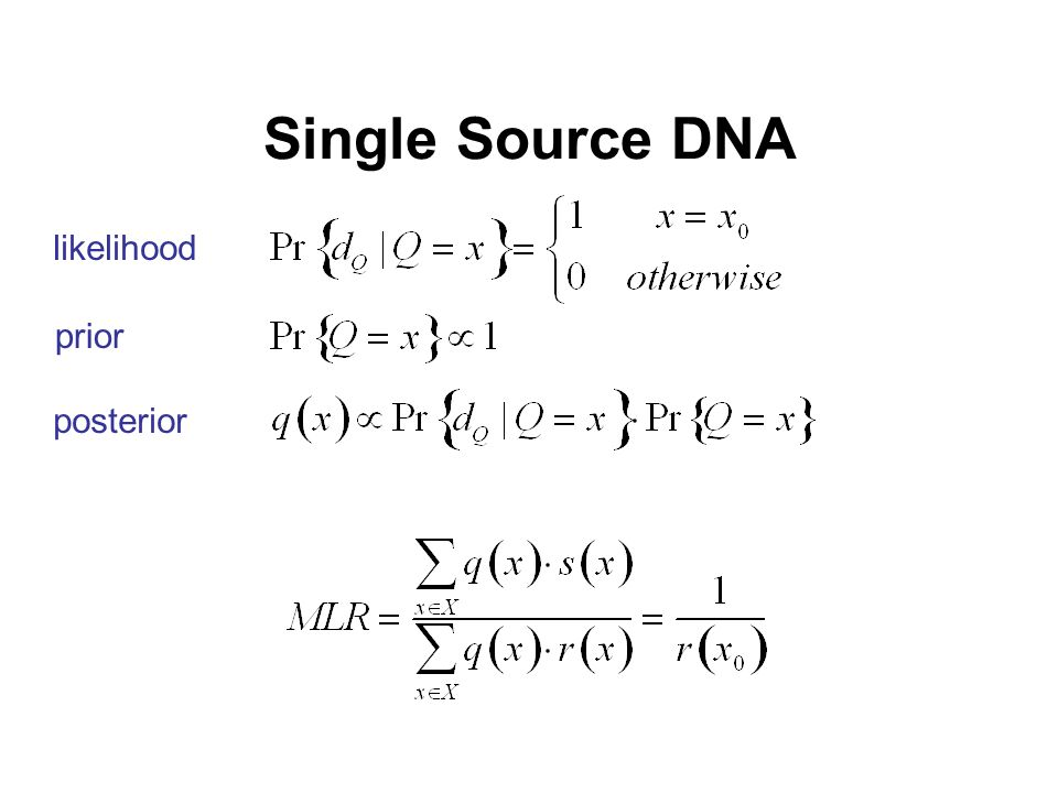 Single Source DNA likelihood prior posterior