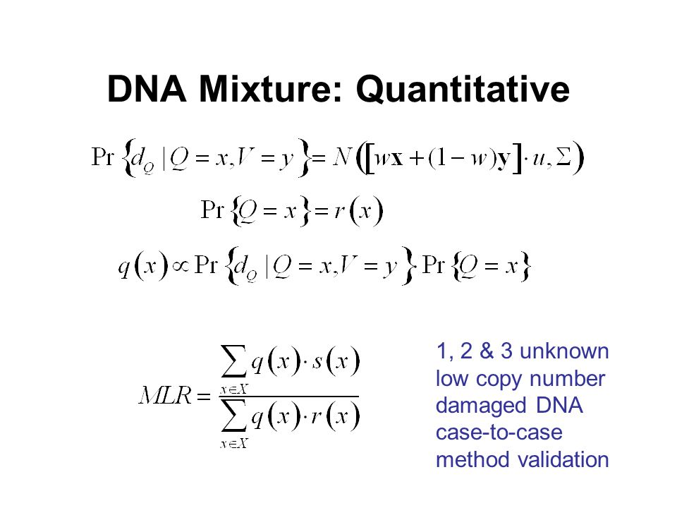 DNA Mixture: Quantitative 1, 2 & 3 unknown low copy number damaged DNA case-to-case method validation