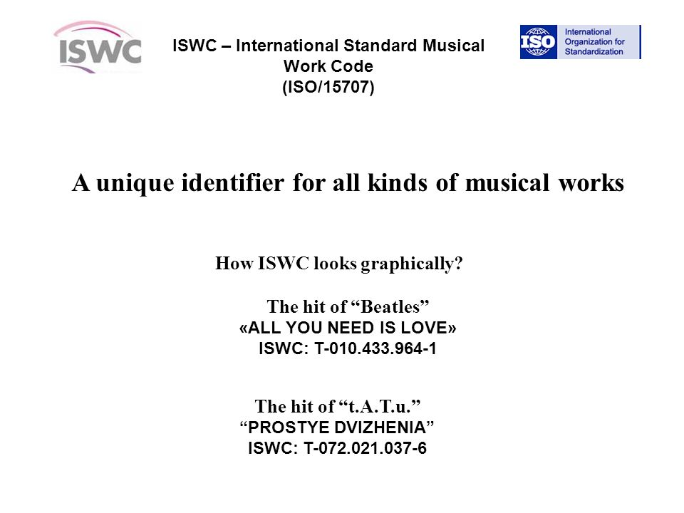 ISWC – International Standard Musical Work Code (ISO/15707) A unique identifier for all kinds of musical works How ISWC looks graphically.