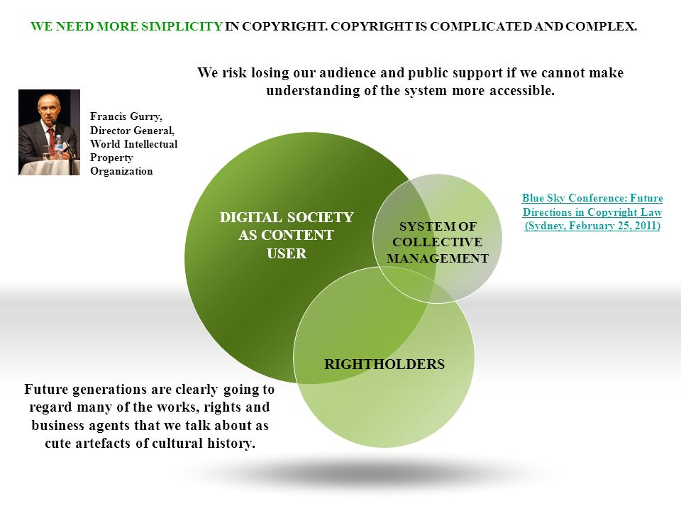 DIGITAL SOCIETY AS CONTENT USER RIGHTHOLDERS SYSTEM OF COLLECTIVE MANAGEMENT WE NEED MORE SIMPLICITY IN COPYRIGHT.