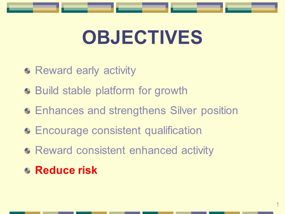 1 OBJECTIVES Reward early activity Build stable platform for growth Enhances and strengthens Silver position Encourage consistent qualification Reward consistent enhanced activity Reduce risk