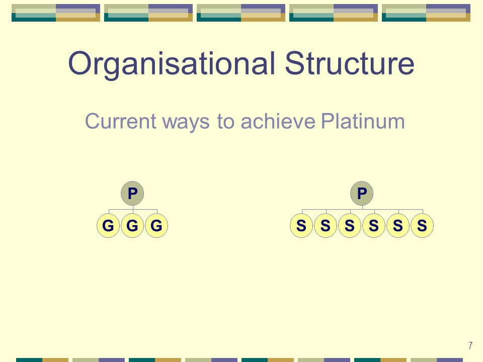 7 Organisational Structure P GGG P SSSSSS Current ways to achieve Platinum