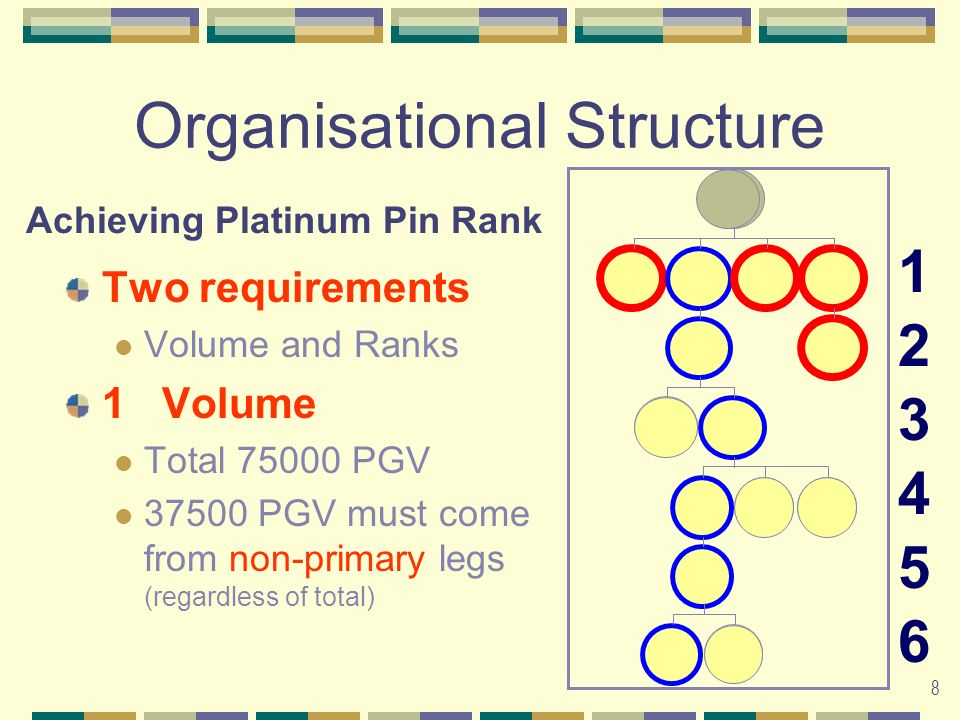 8 Organisational Structure Two requirements Volume and Ranks 1Volume Total 75000 PGV 37500 PGV must come from non-primary legs (regardless of total) 123456123456 Achieving Platinum Pin Rank G G G