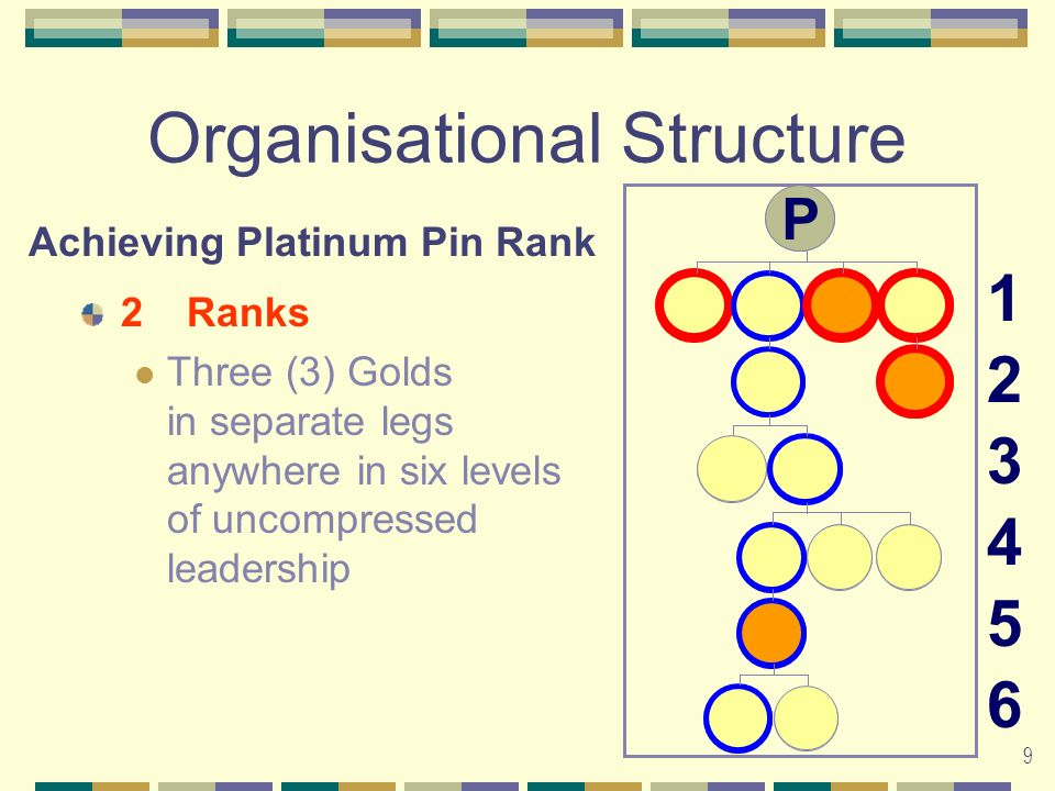 9 Organisational Structure 2Ranks Three (3) Golds in separate legs anywhere in six levels of uncompressed leadership 123456123456 Achieving Platinum Pin Rank G G G G G G P