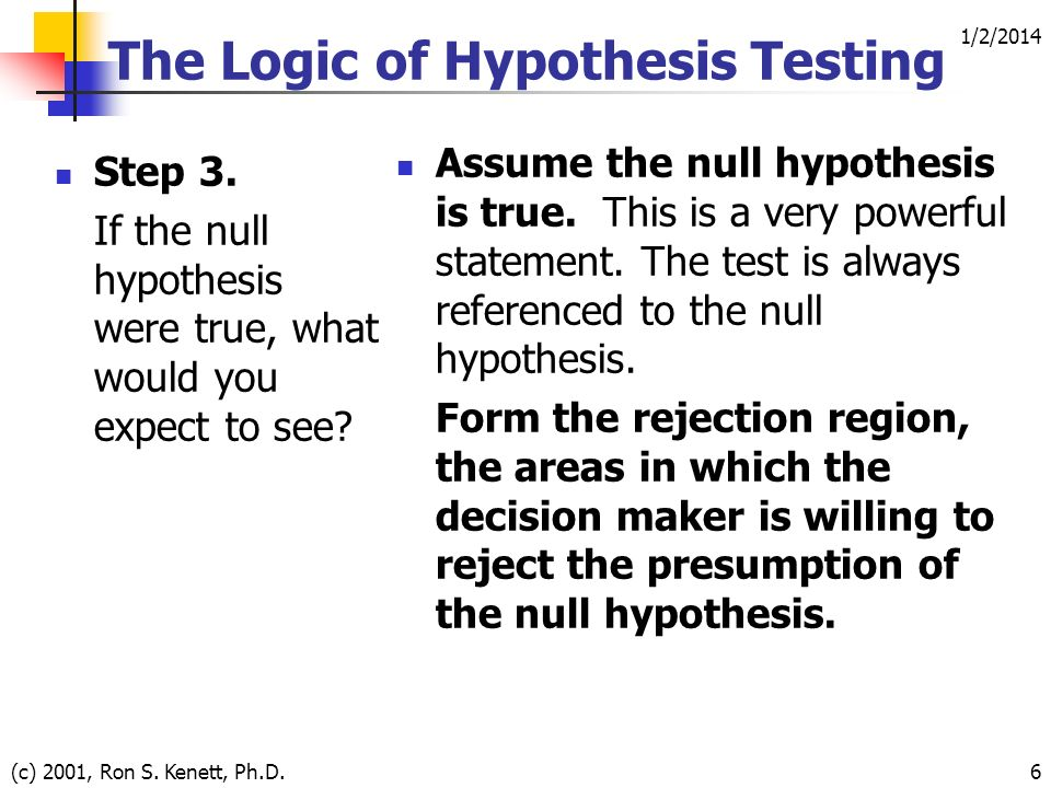 1/2/2014 (c) 2001, Ron S. Kenett, Ph.D.6 The Logic of Hypothesis Testing Step 3.