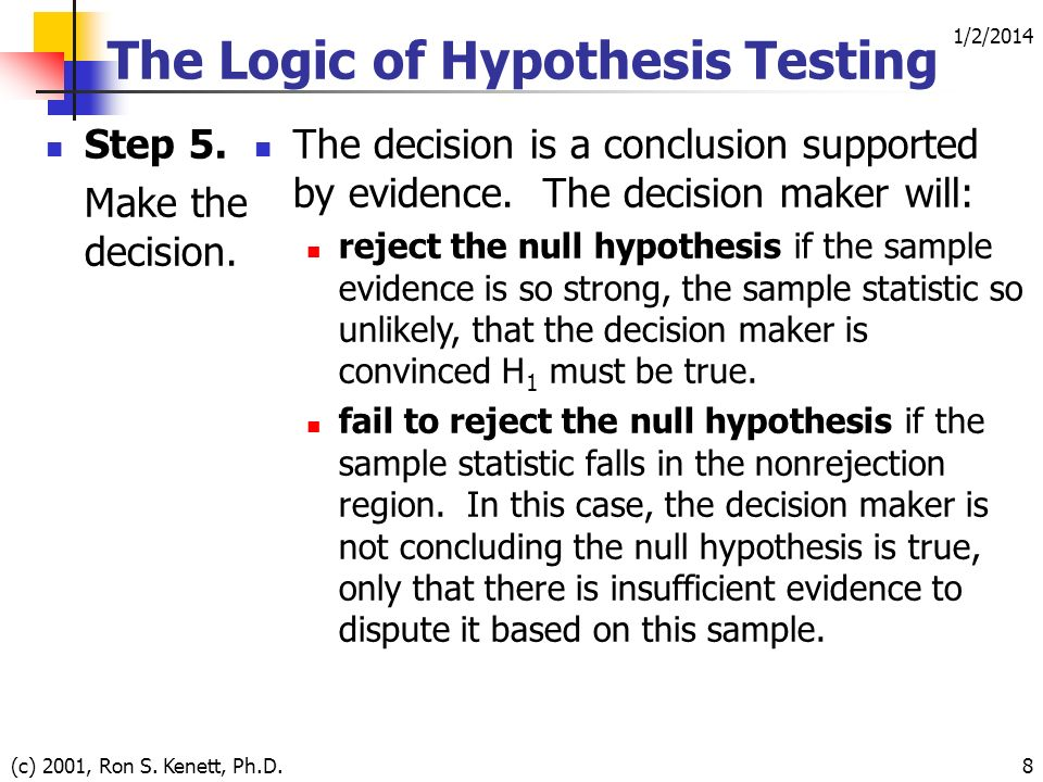 1/2/2014 (c) 2001, Ron S. Kenett, Ph.D.8 The Logic of Hypothesis Testing Step 5.