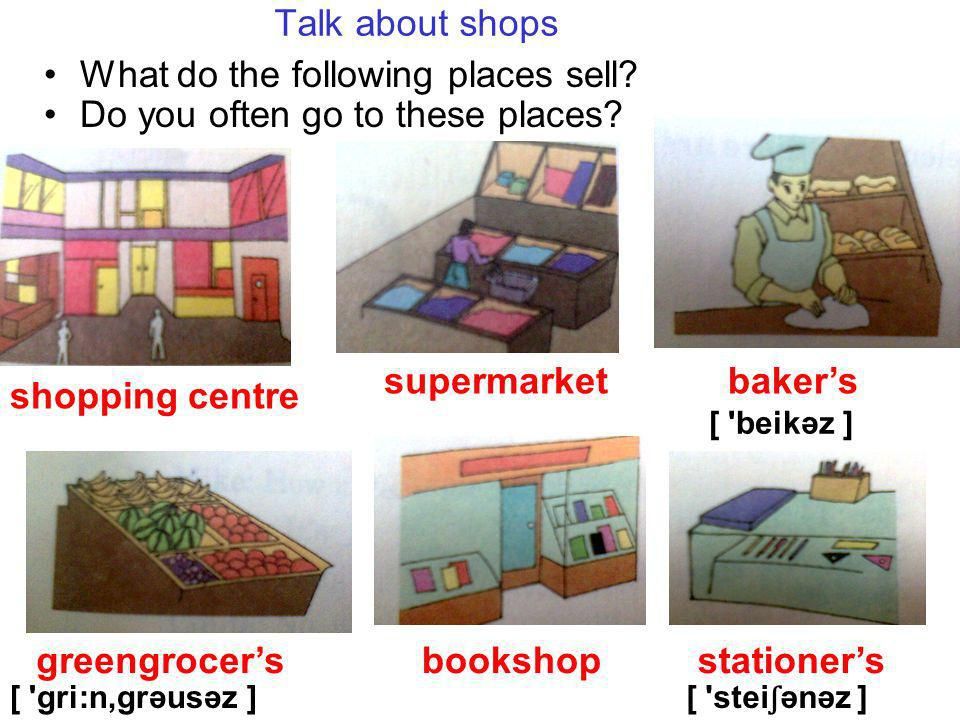 Talk about shops What do the following places sell.