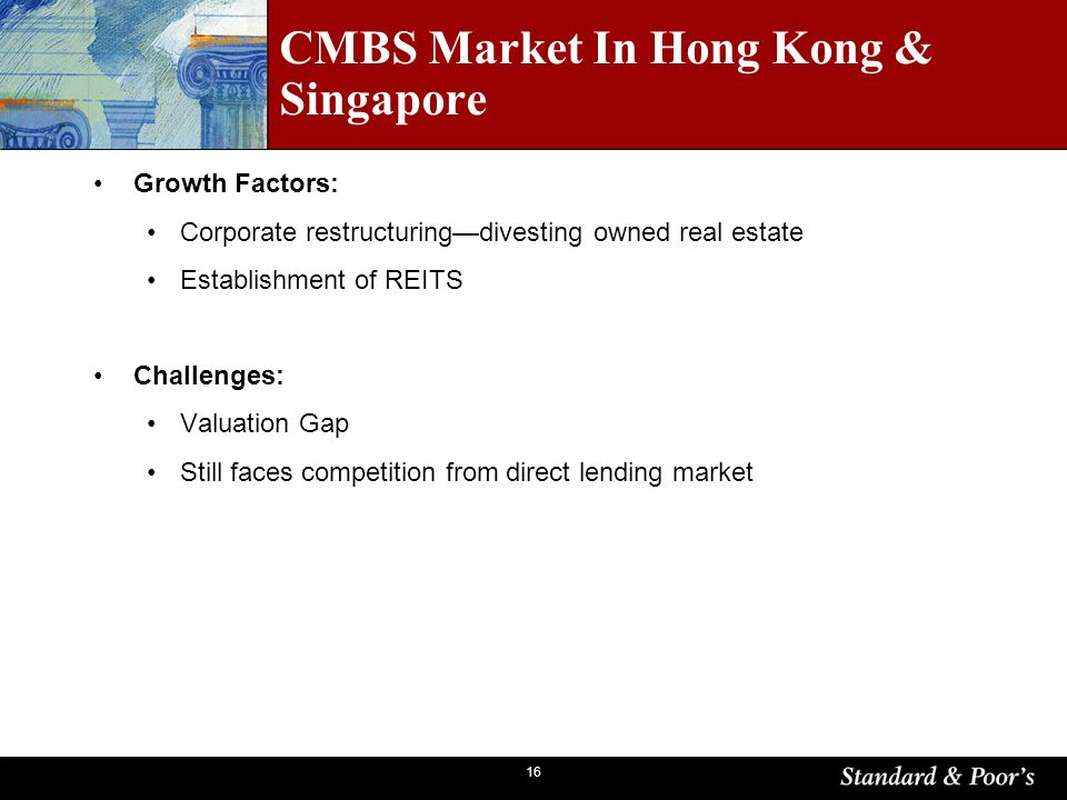 16 CMBS Market In Hong Kong & Singapore Growth Factors: Corporate restructuringdivesting owned real estate Establishment of REITS Challenges: Valuation Gap Still faces competition from direct lending market