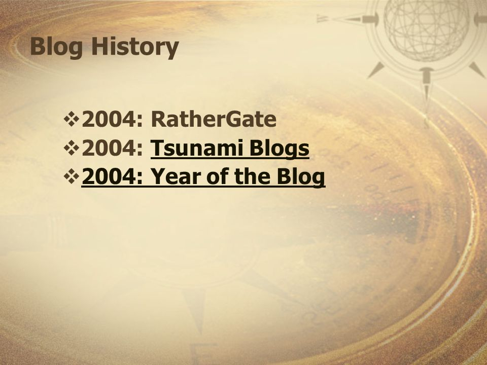 Blog History 2004: RatherGate 2004: Tsunami BlogsTsunami Blogs 2004: Year of the Blog
