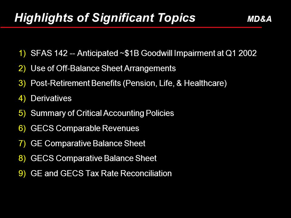 1)SFAS Anticipated ~$1B Goodwill Impairment at Q )Use of Off-Balance Sheet Arrangements 3)Post-Retirement Benefits (Pension, Life, & Healthcare) 4)Derivatives 5)Summary of Critical Accounting Policies 6)GECS Comparable Revenues 7)GE Comparative Balance Sheet 8)GECS Comparative Balance Sheet 9)GE and GECS Tax Rate Reconciliation Highlights of Significant Topics MD&A