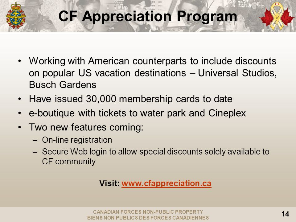 CANADIAN FORCES NON-PUBLIC PROPERTY BIENS NON PUBLICS DES FORCES CANADIENNES 14 Working with American counterparts to include discounts on popular US vacation destinations – Universal Studios, Busch Gardens Have issued 30,000 membership cards to date e-boutique with tickets to water park and Cineplex Two new features coming: –On-line registration –Secure Web login to allow special discounts solely available to CF community Visit:   CF Appreciation Program
